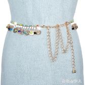 韓版女士皮帶時尚金屬細腰鍊優雅甜美水鉆鑲嵌搭配裙子腰封 DN16980【棉花糖伊人】