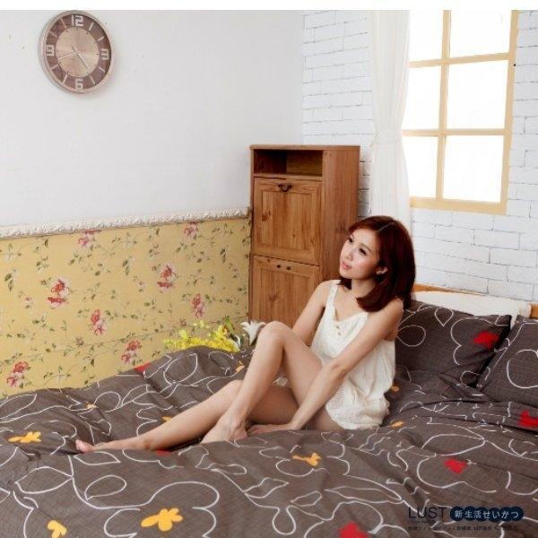 LUST寢具 【新生活eazy系列-花線幸福-咖】單人3.5X6.2-/床包/枕套組、台灣製