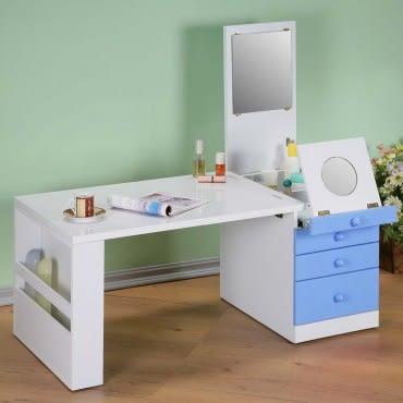 《C&B》第二代折疊和室掀鏡化妝書桌-粉藍