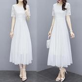 雪紡洋裝 夏季新款白色雪紡長裙仙氣質大擺洋裝海邊度假沙灘裙女長款 雙十二全館免運