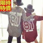 長袖襯衫-情侶裝-情人節穿搭BF風中長款格子男女純棉上衣(兩件)3色68s42【巴黎精品】