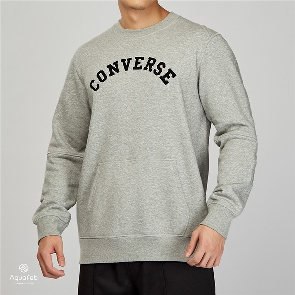 Converse Quilted Panel Crew 男子 灰色 休閒 長袖上衣 10004694-A03