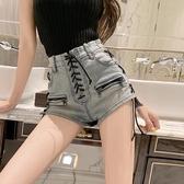 短褲 早秋新款網紅性感設計感做舊復古重工綁帶牛仔短褲熱褲子