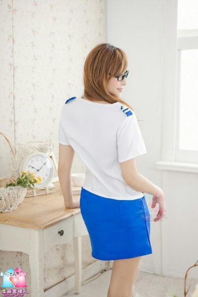 【愛愛雲端】彩巾白衣藍裙空姐服