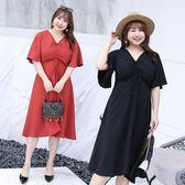 大尺碼  夏季新款女式韓版中長款大碼女裝胖mm200斤連身裙夏加大加肥