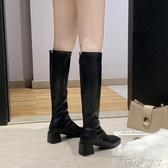 長筒靴女2020新款英倫風方頭粗跟高筒騎士靴網紅長靴瘦瘦靴子 蘿莉小腳丫