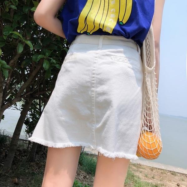 EASON SHOP(GU6924)實拍純色高腰金屬排扣毛邊抽鬚不規則設計牛仔裙女寬鬆顯瘦短裙A字彈力包臀裙黑色