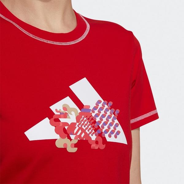 Adidas CNY 女裝 短袖 T恤 兩側開衩 純棉 農曆新年 孔雀 劉亦菲 紅【運動世界】GP0706