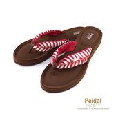 Paidal 叢林度假風綁帶膨膨氣墊美型厚底夾腳拖鞋涼鞋-紅
