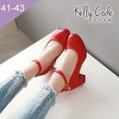 大尺碼女鞋-凱莉密碼-完美圓楦瑪莉珍吊飾好穿防水台粗跟高跟鞋6cm(41-43)【YN707】紅色