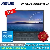 【ASUS 華碩】ZenBook 14 UX425EA-0122G1135G7 14吋筆電 綠松灰