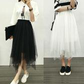 半身裙 正韓百搭高腰純色不規則黑色網紗裙半身裙中長款紗裙蓬蓬裙裙子女