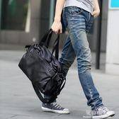 韓版手提包 潮流男士休閒斜背包單肩包PU皮背旅行包復古學生男包   完美情人精品館