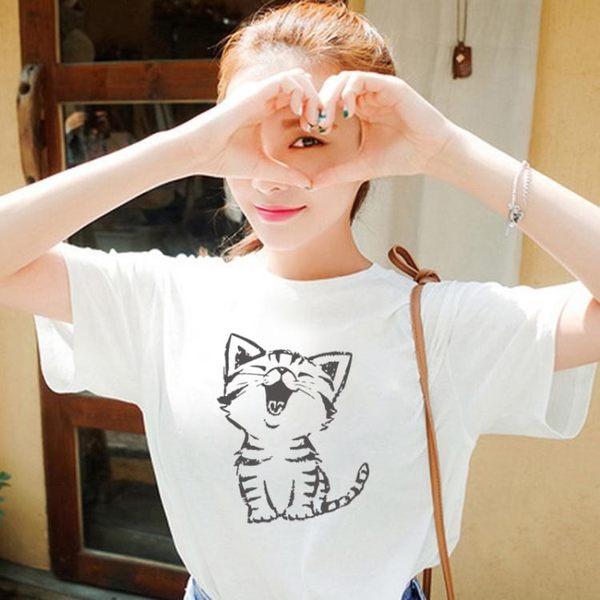 短袖T恤 夏季寬鬆白色短袖T恤女 卡通可愛小貓咪印花體恤學生純棉半截袖bf     非凡小鋪