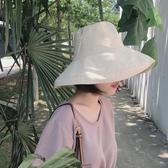 日系大帽檐米色漁夫帽女棉布春夏季防曬遮陽帽子男休閒可折疊盆帽 居享優品