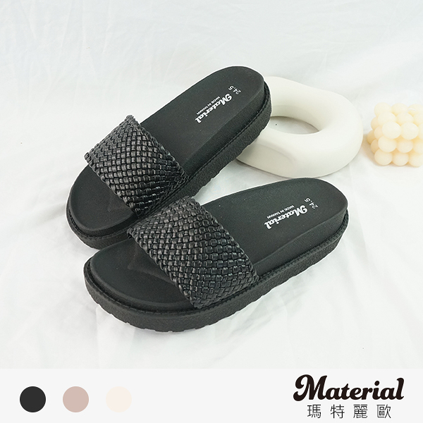拖鞋 編織寬帶厚底拖鞋 MA女鞋 T59225