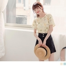 《AB15690》浪漫夏日花卉彈性短袖T恤/上衣 OrangeBear