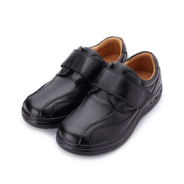 BONJO 真皮魔鬼氈氣墊休閒皮鞋 黑 男鞋 鞋全家福