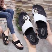 韓版時尚拖鞋防滑厚底鞋平底沙灘百搭夾腳涼鞋女鞋