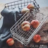 做舊鐵藝收納籃小號廚房桌面雜物水果收納筐 深藏blue