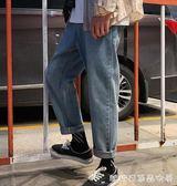 牛仔長褲男-牛仔褲男士潮牌寬鬆潮流直筒休閒褲韓版闊腿老爹秋季長褲百搭褲子  糖糖日系