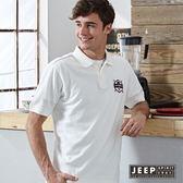 【JEEP】清新校園風格徽章刺繡短袖POLO衫 (白色)