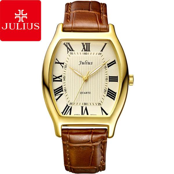 JULIUS 聚利時 倫敦大道羅馬刻度酒桶形男腕錶-金色/34×46mm 【JA-703MC】