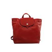 【LONGCHAMP】LE PLIAGE CUIR小羊皮後背包(XS)(酒紅色) 1306737945