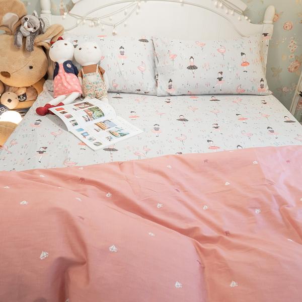 少女漫畫 D3雙人床包與兩用被四件組 100%精梳棉 台灣製 棉床本舖