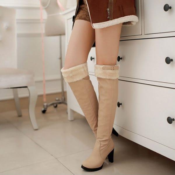 ♥ 俏魔女美人館 ♥  過膝高跟長靴 2014秋冬新款韓版甜美瘦腿時尚兔毛領粗跟高筒女靴