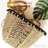 草編包包黑絨球花邊女士休閒包編織包女包小清晰沙灘包  黛尼時尚精品
