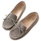 amai舒適升級。磨砂牛皮蝴蝶結綁帶豆豆鞋 灰