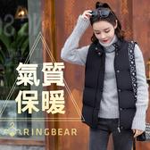 保暖背心--簡約時尚立領拉鍊排釦側邊口袋顯瘦剪接羽絨棉背心(黑XL-3L)-J324眼圈熊中大尺碼◎