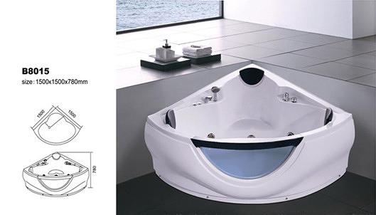 【麗室衛浴】BATHTUB WORLD   扇形人體工學設計款 按摩浴缸 B8015 1500*1500*780mm