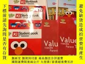 二手書博民逛書店芝麻街英語罕見K1 Student Book1 2+Workbook2+價值觀課程家長寶典上下冊+HOMEWORK