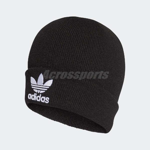 adidas 毛帽Trefoil Beanie 黑白三葉草Logo 秋冬必備男女款 PUMP306  BK7634 fe82f3aeeb1b