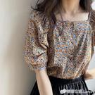洋氣小衫雪紡衫女復古一字領碎花時尚遮肚上衣夏季新短袖襯衫