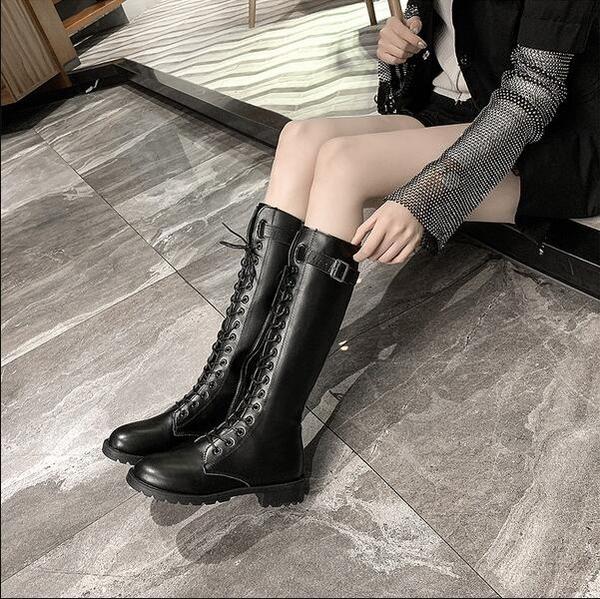 長筒靴 女2020新款秋冬高筒靴皮靴不過膝騎士靴長筒瘦瘦靴