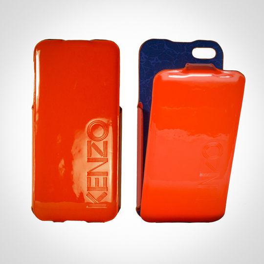 KENZO Glossy系列 iPhone5/5S 亮面皮革保護套 - Glossy Orange