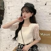 夏季韓版新款chic網紅方領小心機后背繫帶寬鬆短袖蕾絲衫女裝 花間公主