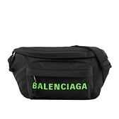 【BALENCIAGA】螢光綠字Logo 尼龍腰包/胸口包(黑色) 533009 H858X 1068