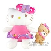 〔小禮堂〕Hello Kitty 絨毛玩偶娃娃《M.花朵蝴蝶結》擺飾.玩具 0840805-13398