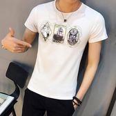 短袖T恤 夏季男修身時尚印花男裝青年大碼上衣《印象精品》t31