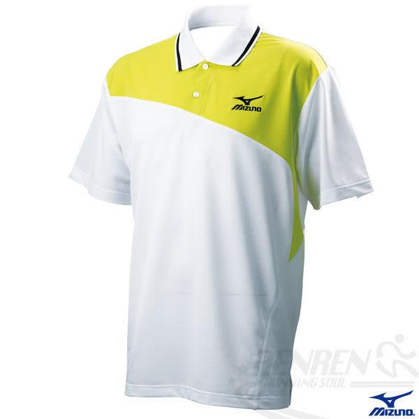 MIZUNO美津濃 游泳系列 男短袖Polo衫(白*黃)吸濕快排 85HF-20901