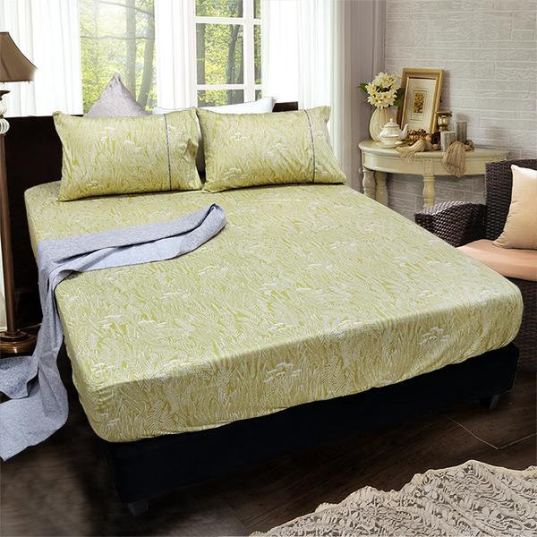 【FITNESS】精梳棉單人床包+枕套二件組-葉羽情(芥綠)_TRP多利寶