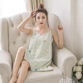 睡裙女純棉吊帶無袖韓版清新可愛學生睡衣性感中短裙家居服『夢娜麗莎精品館』