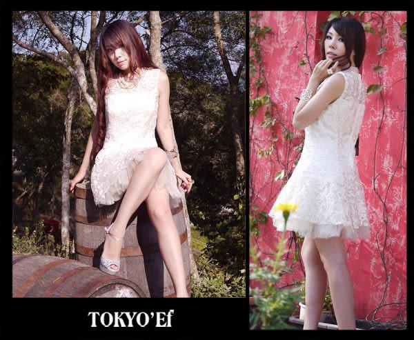 東京衣服-優雅女人法式蕾絲無袖澎裙小禮服 米杏色