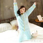 女童睡衣套裝 大尺碼兒童裝寶寶保暖家居服兒童秋冬裝長袖珊瑚絨兩件式 js14098『miss洛羽』