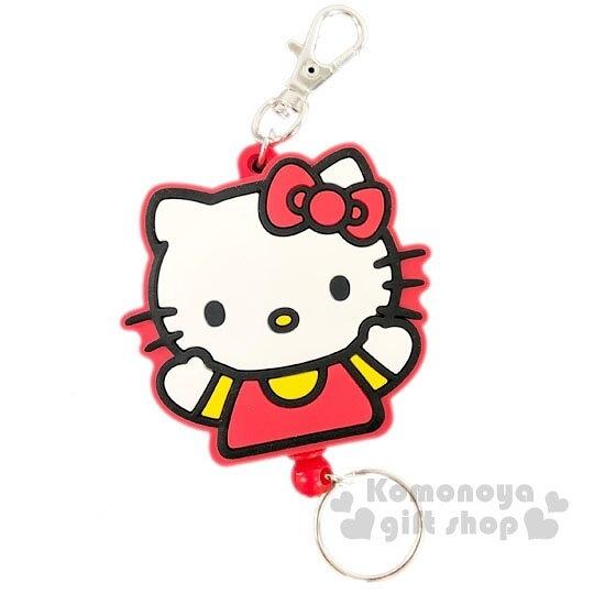 〔小禮堂〕Hello Kitty 造型矽膠易拉扣伸縮鑰匙圈《紅白.全身》吊飾.掛飾.鎖圈 4713791-95769