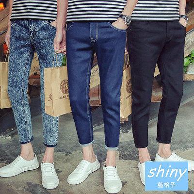 【Y053】shiny藍格子-話題主打.春秋款修身牛仔九分褲休閒小腳鉛筆褲